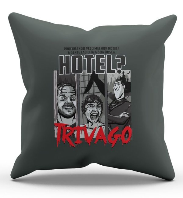 Almofada Decorativa  Hotel Trivago 45x45 - Nerd e Geek - Presentes Criativos