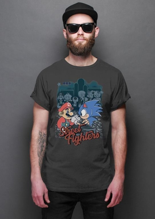Camiseta Masculina  Super Mario vs Sonic - Game - Nerd e Geek - Presentes Criativos