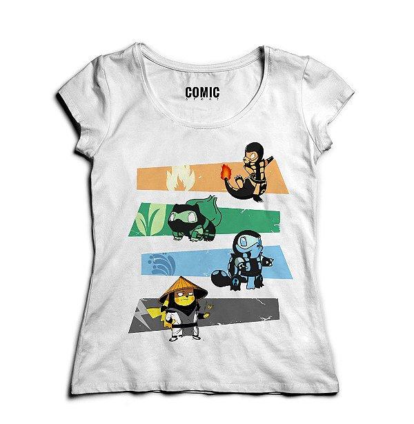 Camiseta Feminina Pokemon Kombat - Nerd e Geek - Presentes Criativos