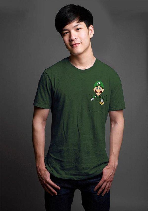 Camiseta Masculina  Luigi Bolso - Nerd e Geek - Presentes Criativos