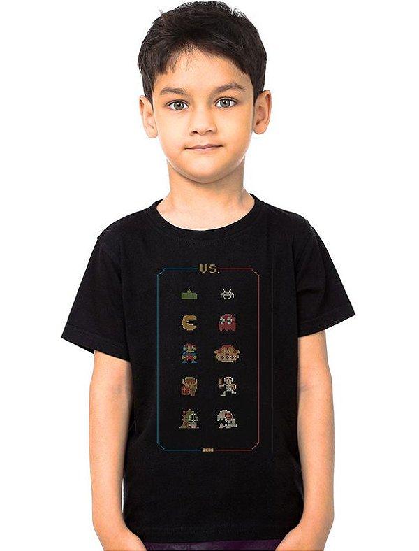 Camiseta Infantil Retro Game - Nerd e Geek - Presentes Criativos