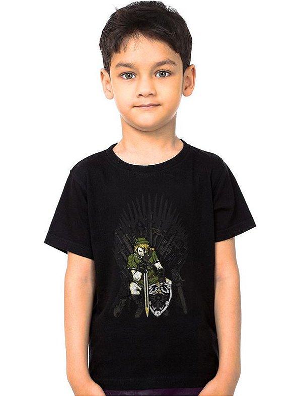 Camiseta Infantil  Legend of Zelda Thrones - Nerd e Geek - Presentes Criativos