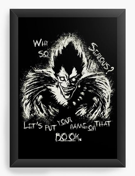 Quadro  Decorativo Anime Death Note Ryuk x Joker - Nerd e Geek - Presentes Criativos