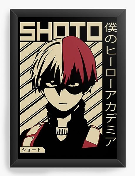 Quadro Decorativo A4 (33X24) Anime My Hero Academia Shoto Todoroki - Nerd e Geek - Presentes Criativos