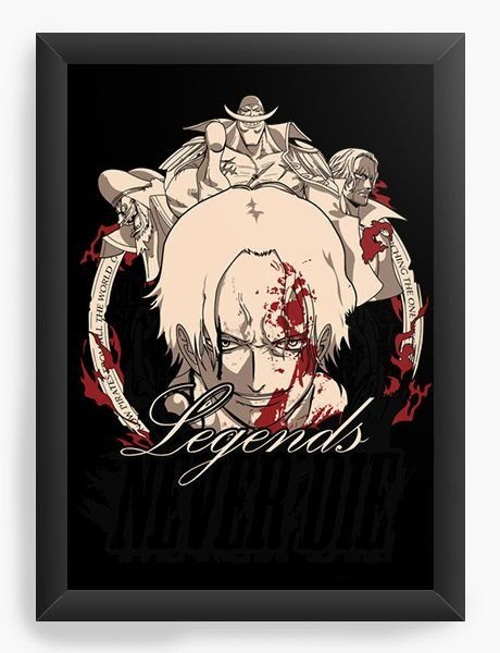 Quadro  Decorativo Anime One Piece Legends Never Die - Nerd e Geek - Presentes Criativos