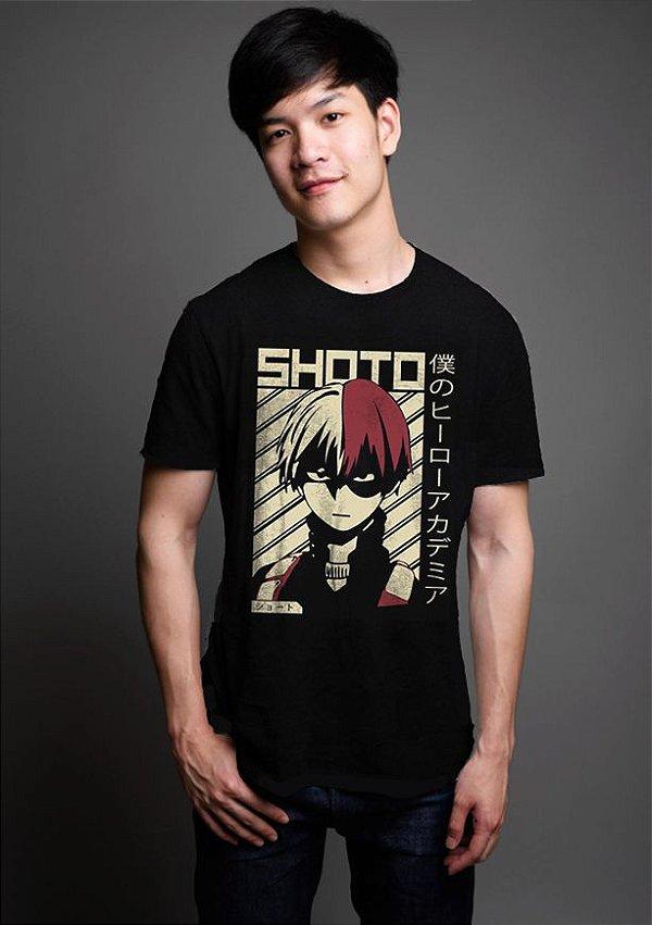 Camiseta Masculina  Anime My Hero Academia Shoto Todoroki - Nerd e Geek - Presentes Criativos