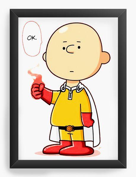Quadro Decorativo A4 (33X24) Charlie Brown become One Punch - Nerd e Geek - Presentes Criativos