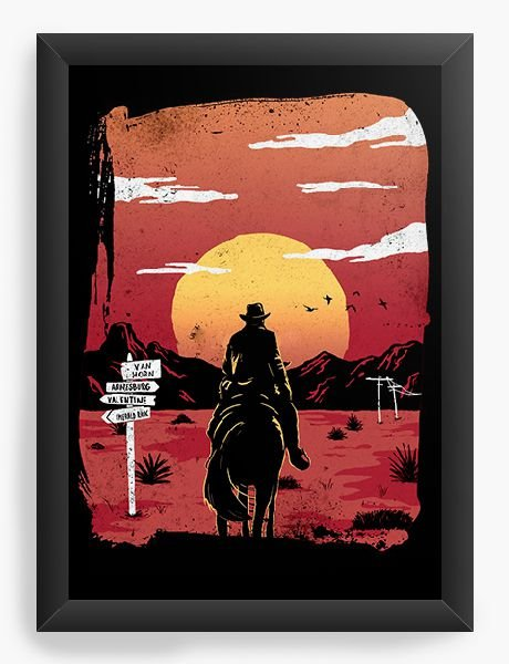 Quadro Decorativo A4 (33X24) Red Dead Redemption Way to nowhere - Nerd e Geek - Presentes Criativos