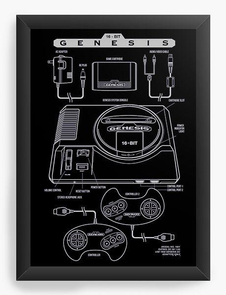 Quadro Decorativo A4 (33X24) Mega Drive - Nerd e Geek - Presentes Criativos