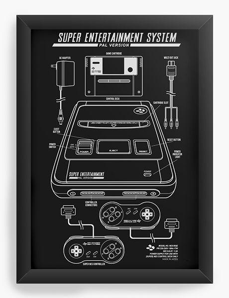 Quadro Decorativo A4 (33X24) Super Entertainment - Nerd e Geek - Presentes Criativos