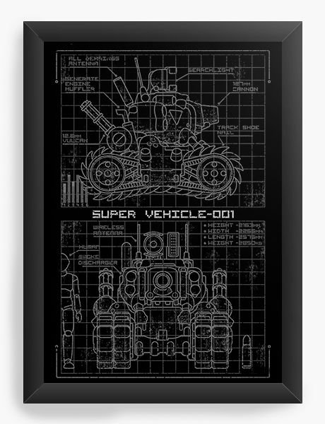 Quadro Decorativo A4 (33X24) Metal Slug Blueprint  SV 001 - Nerd e Geek - Presentes Criativos