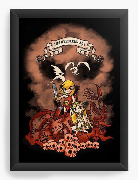 Quadro Decorativo A4 (33X24) The Hyrulean Age - Nerd e Geek - Presentes Criativos