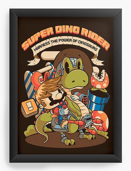 Quadro Decorativo Super Dino Rider - Nerd e Geek - Presentes Criativos
