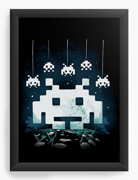 Quadro Decorativo A4 (33X24) Space Atari  - Nerd e Geek - Presentes Criativos