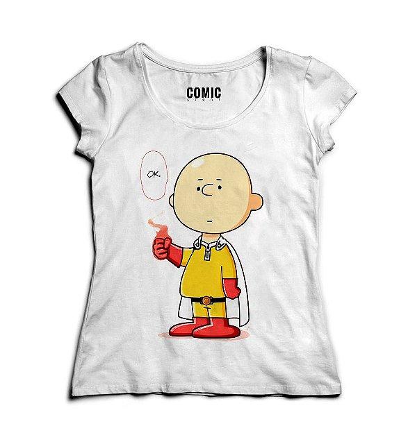 Camiseta Feminina Charlie Brown Become One Punch Nerd e Geek - Presentes Criativos