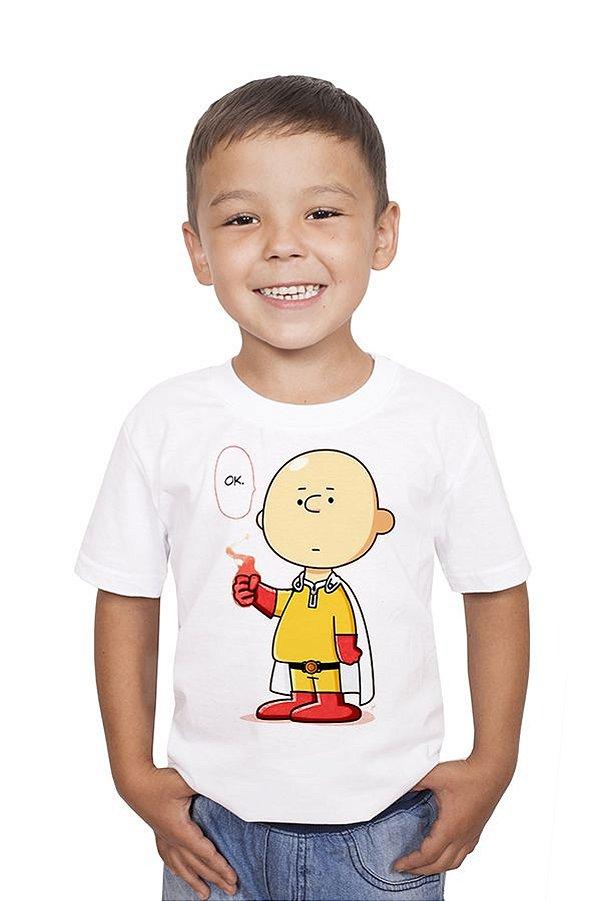 Camiseta Infantil Charlie Brown Become One Punch Nerd e Geek - Presentes Criativos