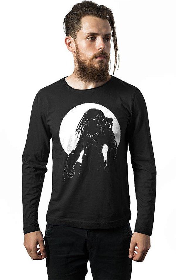 Camiseta Masculina Manga Longa Predador Nerd e Geek - Presentes Criativos