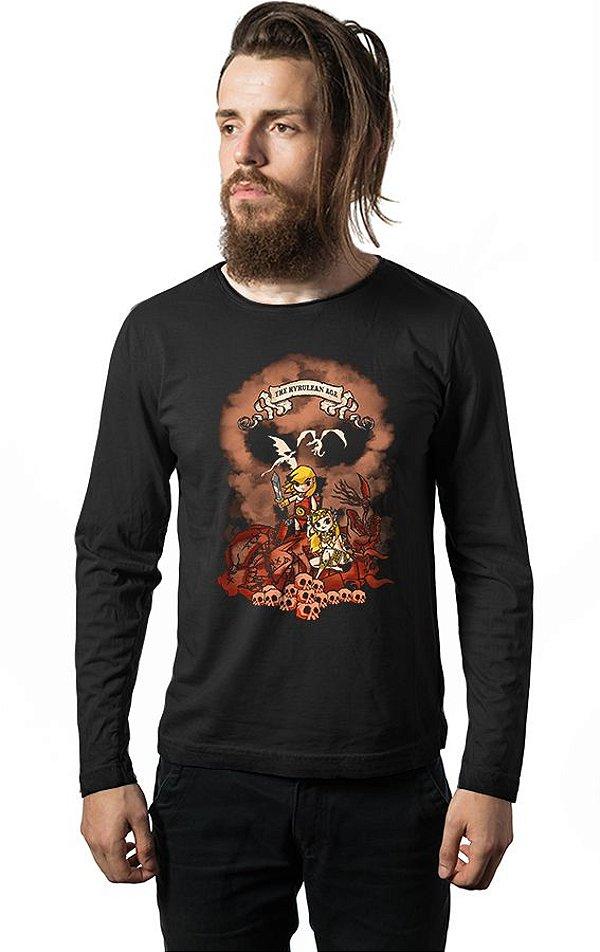 Camiseta Masculina Manga Longa The Hyrulean Ages Nerd e Geek - Presentes Criativos