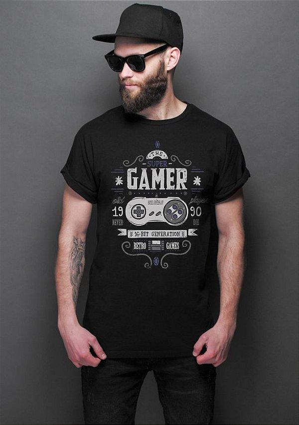 Camiseta Masculina Gamer 16bit Super - Nerd e Geek - Presentes Criativos