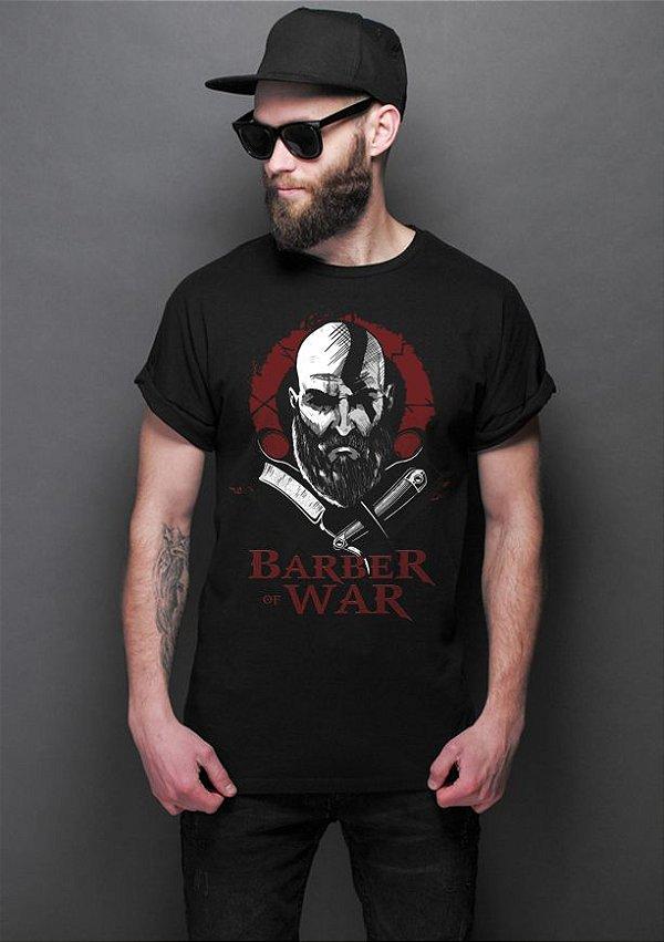 Camiseta Masculina Barber of War Nerd e Geek - Presentes Criativos