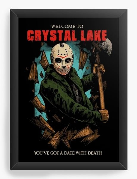 Quadro Decorativo A3 (45X33) Jason Crystal Lake - Nerd e Geek - Presentes Criativos