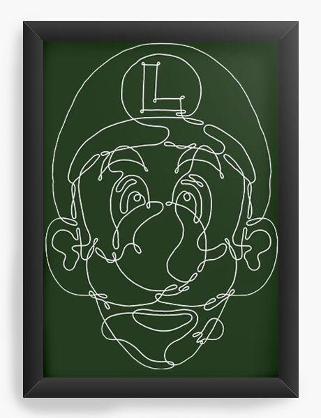 Quadro Decorativo A3 (45X33) Luigi - Nerd e Geek - Presentes Criativos