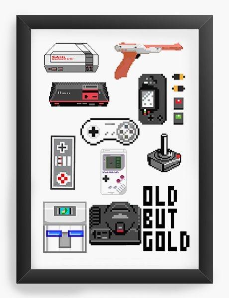 Quadro Decorativo A3 (45X33) Old But Gold - Nerd e Geek - Presentes Criativos