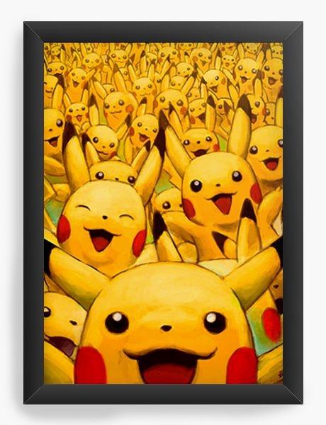 Quadro Decorativo A3 (45X33) Pikachu - Nerd e Geek - Presentes Criativos