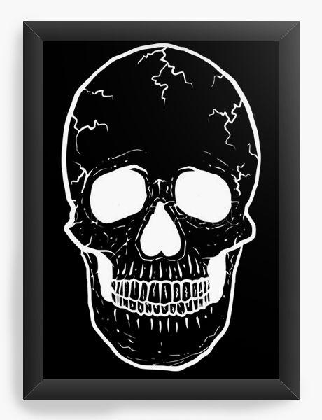 Quadro Decorativo A3 (45X33) Skull Smile - Nerd e Geek - Presentes Criativos