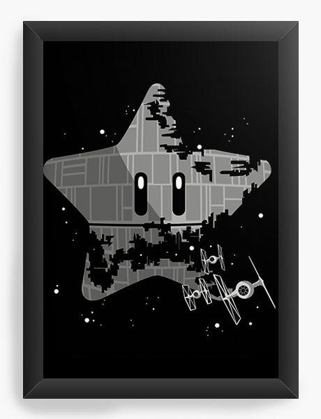 Quadro Decorativo A3 (45X33) Super Estrela da Morte - Nerd e Geek - Presentes Criativos