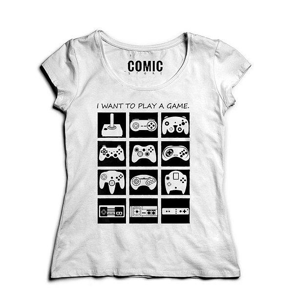 Camiseta Feminina Play Game  - Presentes Criativos