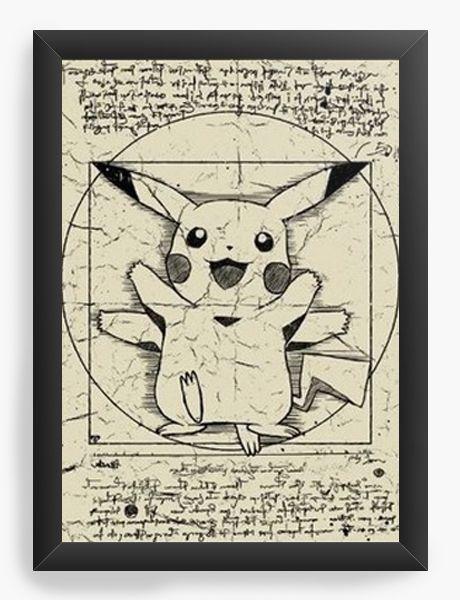 Quadro Decorativo A4 (33X24) Pokemon Pikachu - Nerd e Geek - Presentes Criativos