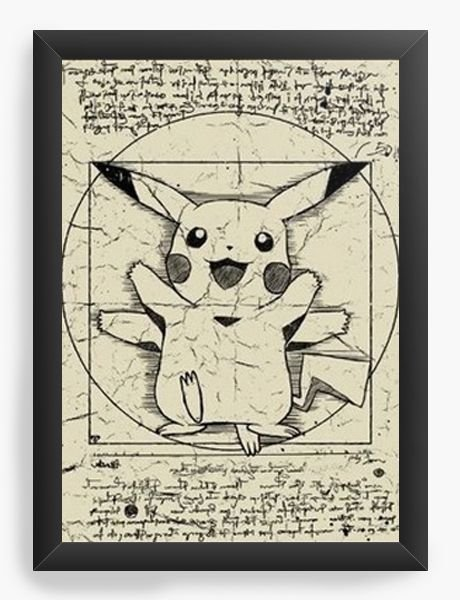 Quadro  Decorativo A3 45X33 Pokemon Pikachu - Nerd e Geek - Presentes Criativos