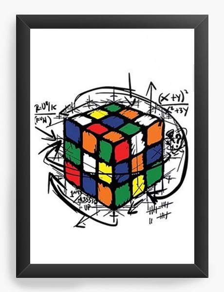 Quadro Decorativo A3 (45X33) Cubo Mágico - Nerd e Geek - Presentes Criativos