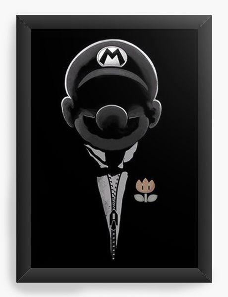 Quadro Decorativo A4 (33X24) Mario the god father - Nerd e Geek - Presentes Criativos