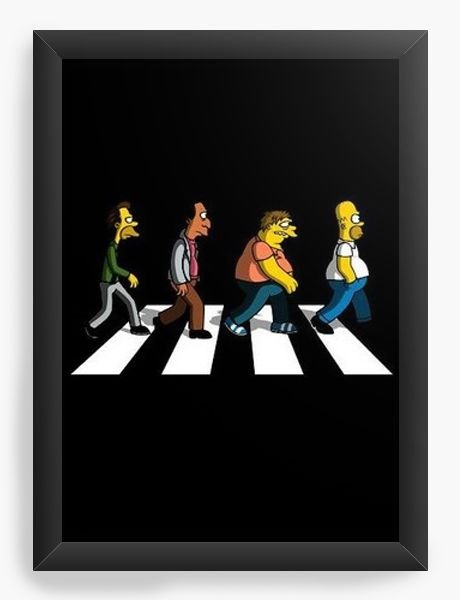 Quadro Decorativo A4 (33X24) Simpsons Beatles - Nerd e Geek - Presentes Criativos