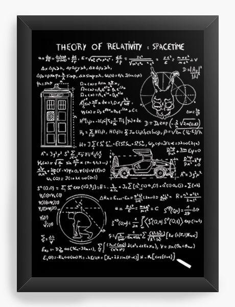Quadro Decorativo A4 (33X24) Theory of Relativity Space Time - Nerd e Geek - Presentes Criativos