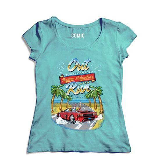 Camiseta Feminina  Out Run - Nerd e Geek - Presentes Criativos