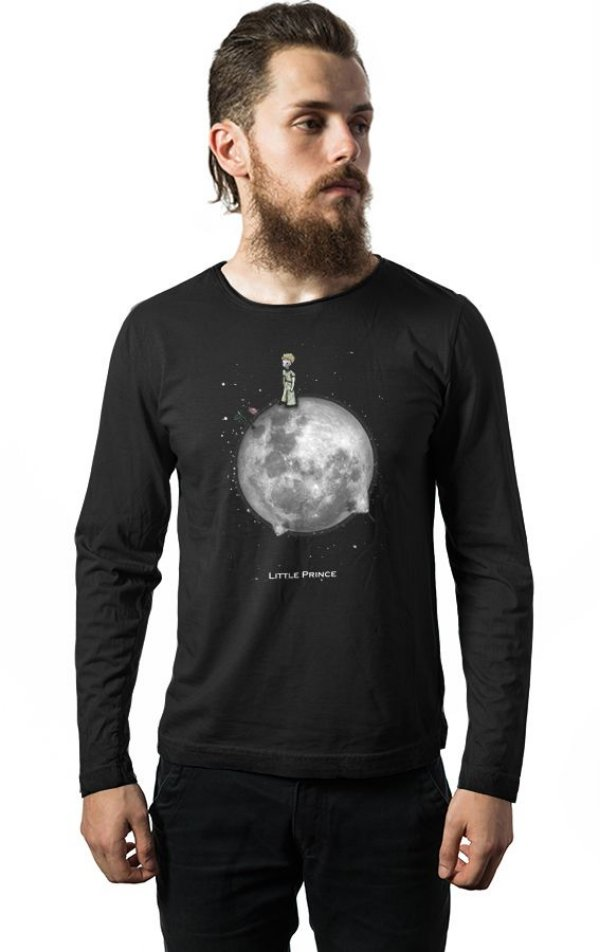 Camiseta Masculina  Manga Longa O Pequeno Principe - Nerd e Geek - Presentes Criativos