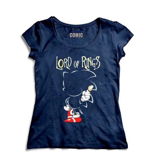 Camiseta Feminina Sonic Lord of Rings - Nerd e Geek - Presentes Criativos
