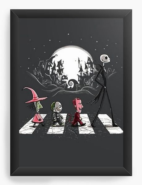 Quadro Decorativo A4 (33X24) Jack Skellington Beatles - Nerd e Geek - Presentes Criativos