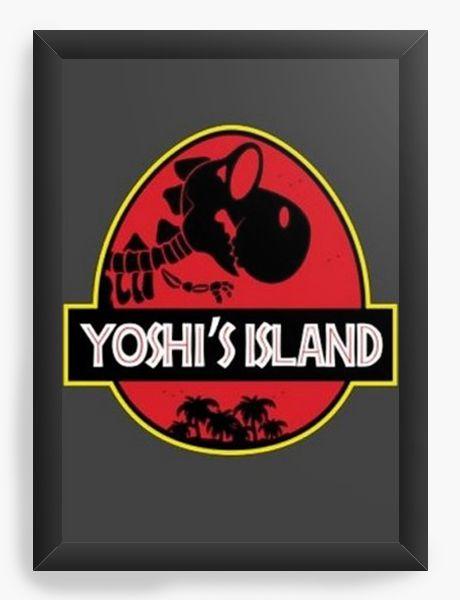 Quadro Decorativo A4 (33X24) Yoshi Island - Nerd e Geek - Presentes Criativos