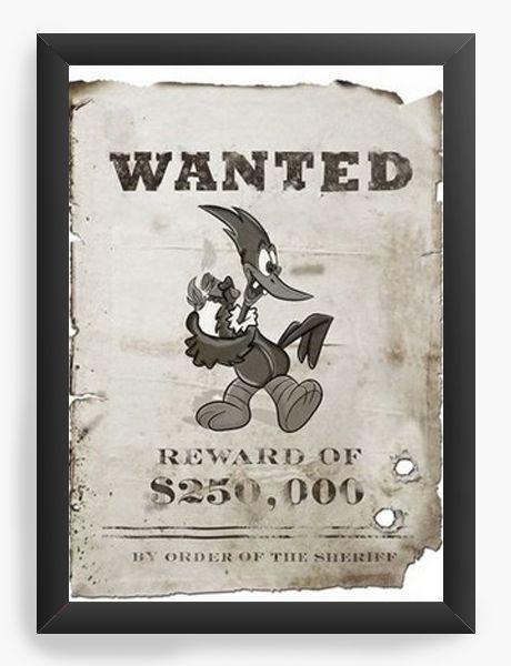 Quadro Decorativo A4 (33X24) Wanted - Nerd e Geek - Presentes Criativos