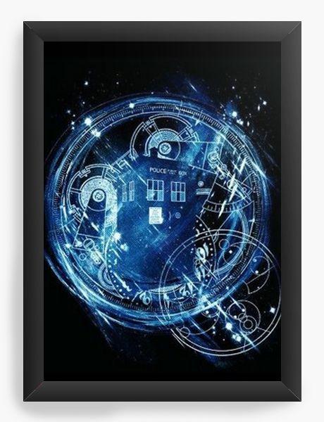 Quadro Decorativo A4 (33X24) Police Box Call Doctor Who - Nerd e Geek - Presentes Criativos