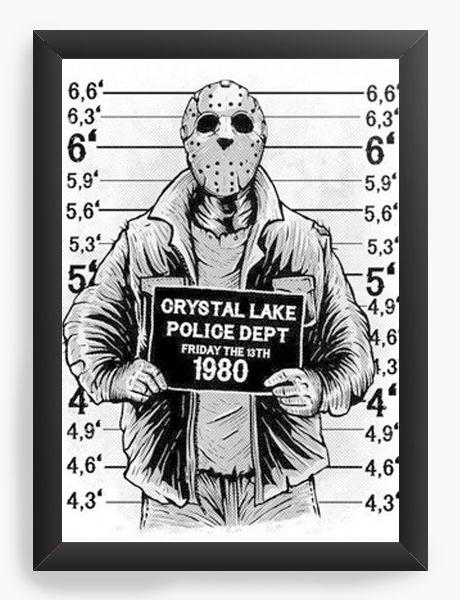 Quadro Decorativo A4 (33X24)  Jason Police Dept 1980 - Nerd e Geek - Presentes Criativos