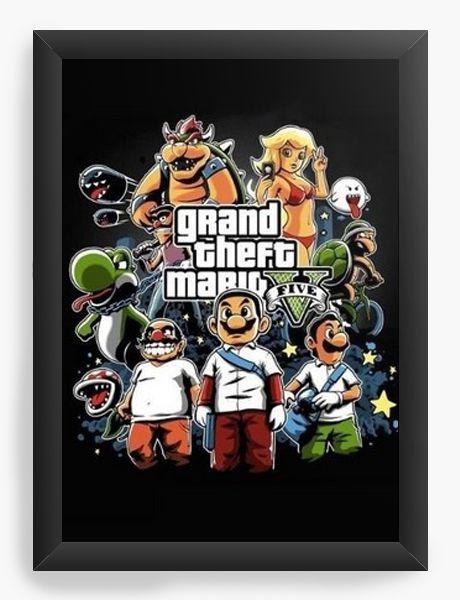 Quadro Decorativo A4 (33X24) Grand Theft Mario - Nerd e Geek - Presentes Criativos