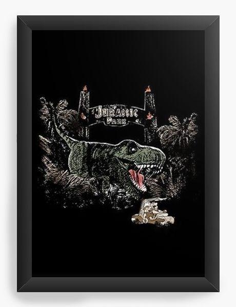 Quadro Decorativo A4 (33X24) Jurassic Park - Nerd e Geek - Presentes Criativos