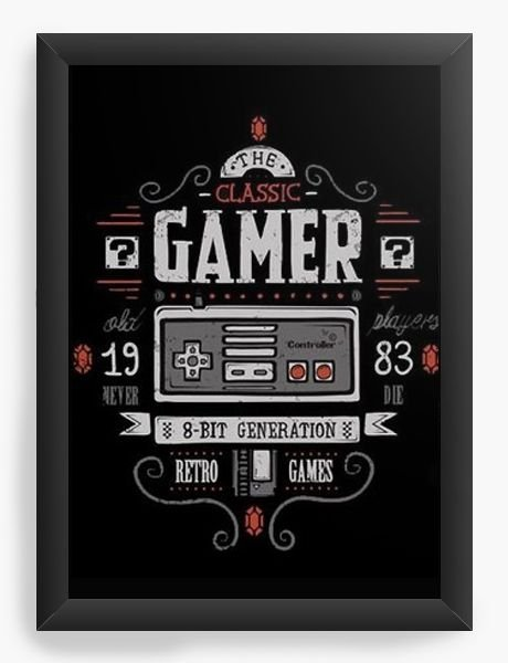 Quadro Decorativo A3 (45X33)   Classic Gamer - Nerd e Geek - Presentes Criativos