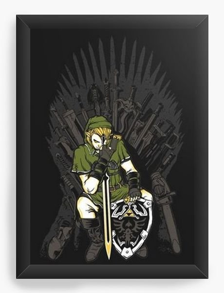 Quadro Decorativo A4 (33X24) Legend of Zelda Thrones  - Nerd e Geek - Presentes Criativos