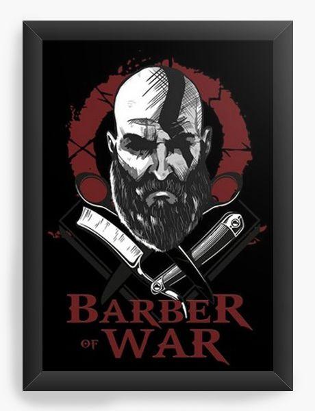Quadro Decorativo A3 (45X33) Barber of War - Nerd e Geek - Presentes Criativos